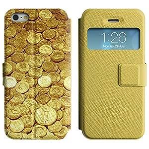 BONETI Diamante 2 Funda Cuero cover case Carcasa incorporado de atri y doble protección y window / Gold Coins Money / Apple Iphone 5 / 5S
