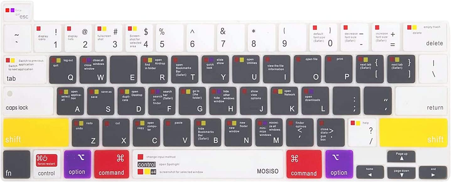 MOSISO Silicone Keyboard Cover Compatible with 2020 MacBook Pro 13 inch A2338 M1 A2251 A2289 & 2020 2019 MacBook Pro 16 inch A2141 with Touch Bar, Protective Silicone Skin, Mac OS X Shortcut, White