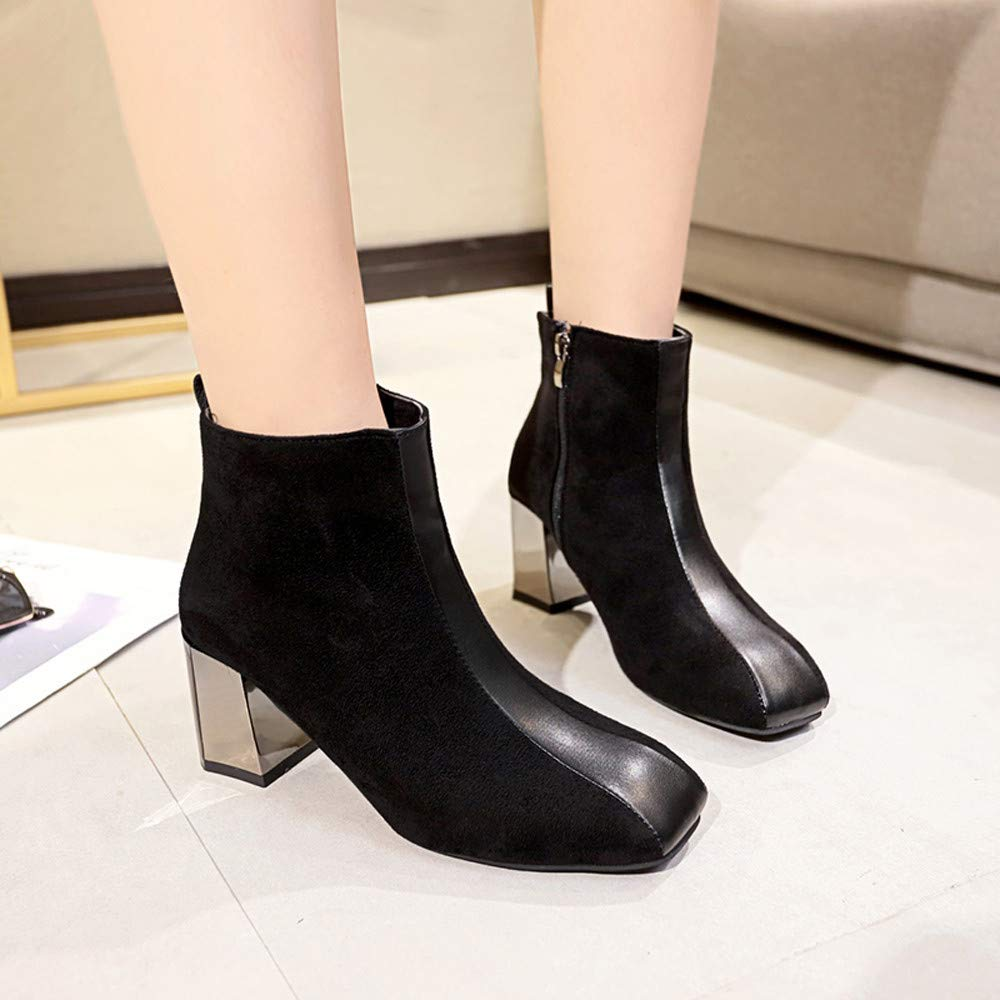 GoodLock Women Fashion Ankle Boots Leisure Square Head Retro Thick High Heel Non-Slip Booties Shoes
