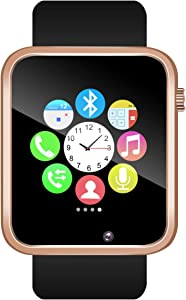 Padgene Bluetooth Smartwatch,Touchscreen Wrist Smart Phone Watch Sports Fitness Tracker with SIM SD Card Slot Camera Pedometer Compatible with iOS Android for Kids Men Women (Gold)
