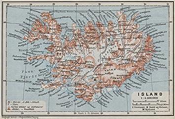 Island Island Reykjavik Topo Karte 1909 Kort Baedeker Amazon