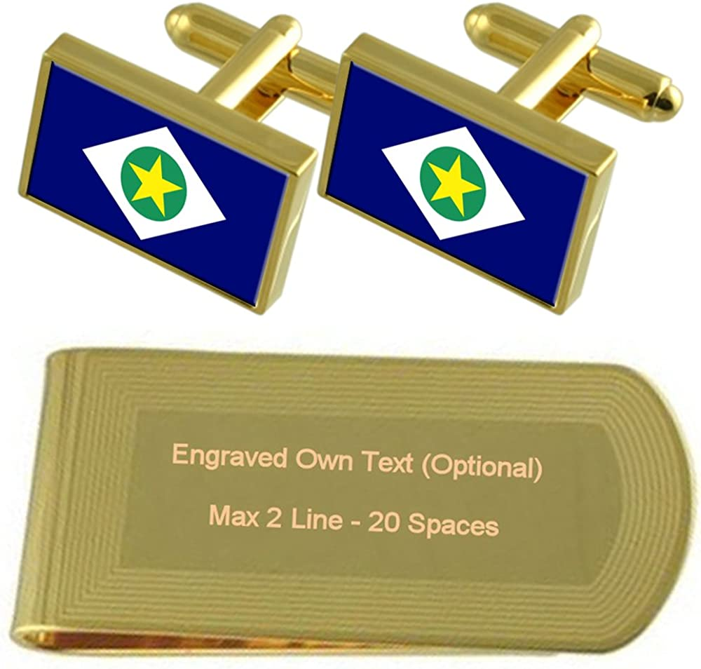 Mato Grosso Flag Gold-tone Cufflinks Money Clip Engraved Gift Set
