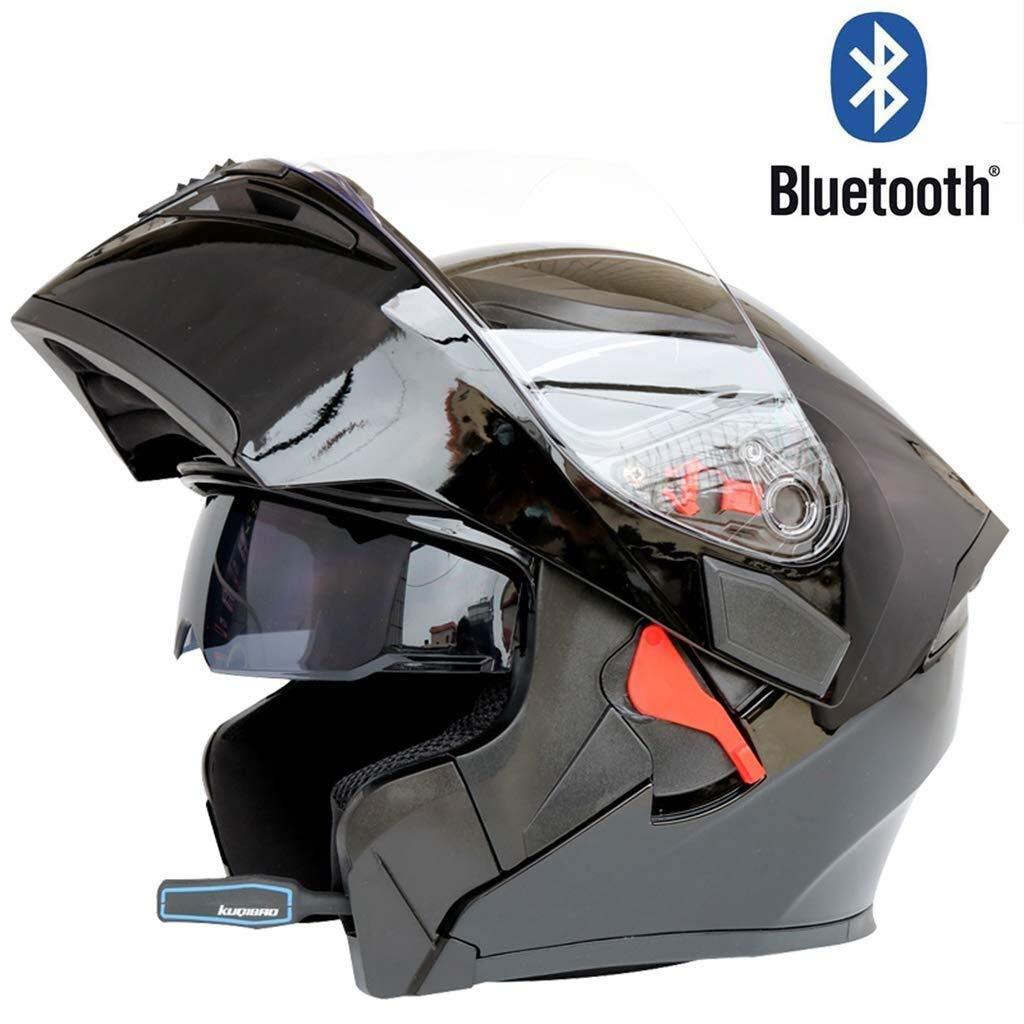 Helmet, オートバイブルートゥースフルフェイスヘルメットモジュラーフリップアップデュアルバイザー防曇ビルトインスピーカーヘッドセットマイク自動留守番ドット認証 (Color : I, Size : XXL:63~64CM) I XXL:63~64CM