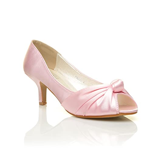 b7a3332f8a7e Paris Baby Pink Satin Kitten Medium Heel Bridal Peeptoe Shoes Size UK 3 EU  36
