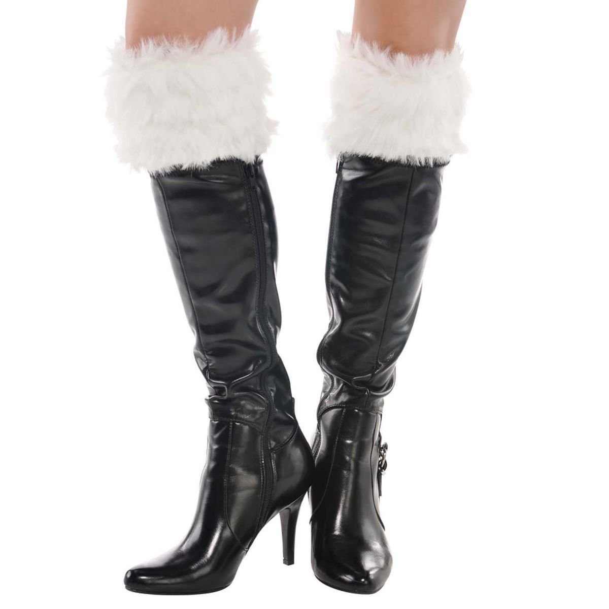 Fun-Filled Christmas and Holiday Party Plush Santa Boot Cuffs , White, Fabric , 5'', Pack of 2