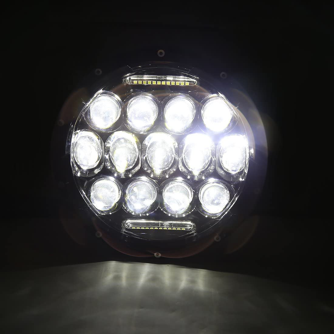 uxcell 7 inches 75W Round LED Headlight Black Car H4 H13 DRL High Low Head Bulb