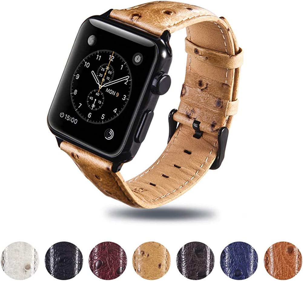 Compatible with Apple Watch Band 44mm 42mm 40mm 38mm, Ostrich Spotted Genuine Leather Watch Band Compatible with Iwatch Series 5 4 3 2 1