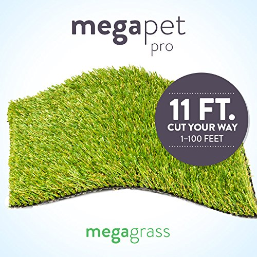 MegaGrass New 11' Roll Wholesale Custom Cut 11Ft x 40Ft Artificial Grass for Pet Dog Potty Outdoor or Indoor Green Faux Fake Grass Decor | 440 SqFt | 1.13