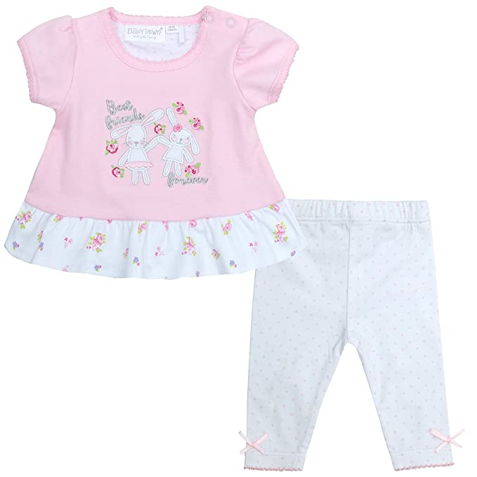 0e0de9dcd2df0 Baby Town Baby Girls Bunny Embroidered Top and Leggings Set 12-18 Months