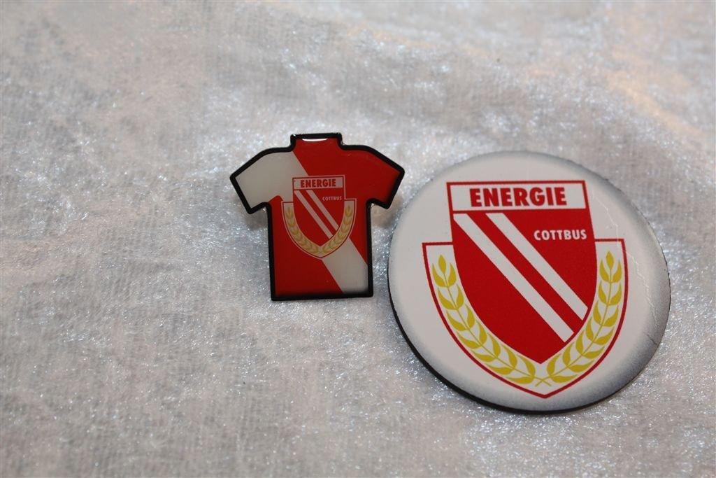 Magnet Anstecker Bundesliga Energie Cottbus Fanset 2 teilig Trikot Pin