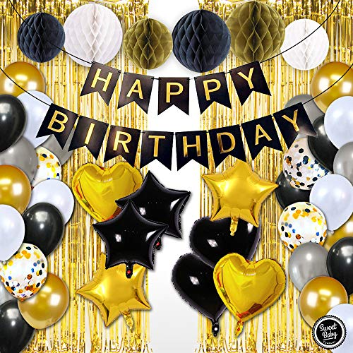 (Sweet Baby Co. Black And Gold Party Decorations With Banner, Photo Booth Backdrop, Foil Balloons, Honeycomb Balls, Ribbon | New Years Eve, Graduation, Birthday Decorations (Gold, Black, Silver,)