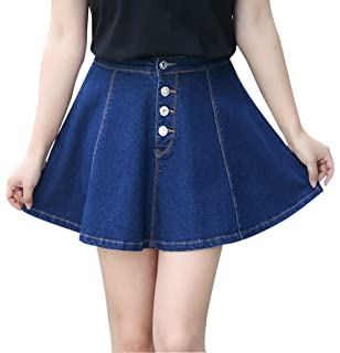 a3297739c6 Gihuo Women's Casual Button Front Denim A-Line Pleated Mini Denim Skirt