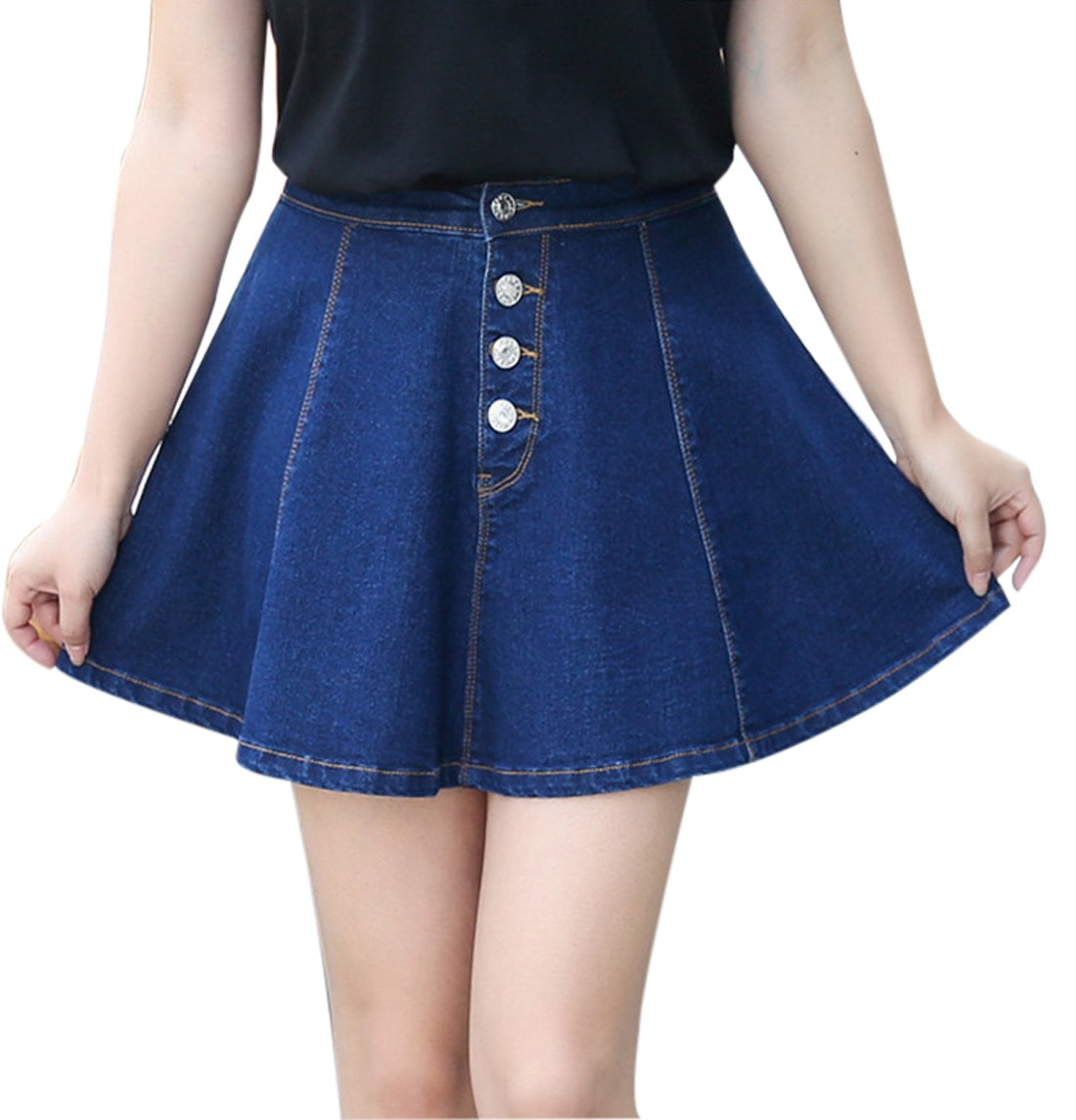 Gihuo Women's Casual Button Front Denim A-Line Pleated Short Denim Skirt Plus Size (L, Blue)