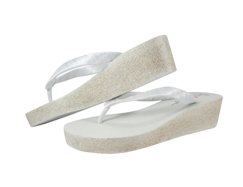c37480446215b Amazon.com: Handmade Glitter Flip Flops, Wedding Sandals for Bride ...