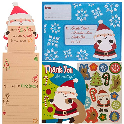 Paper Crafts 12 Pack Kids Letters to Santa Kits: Christmas Wish List, Stickers, Thank You Cards & Envelopes, Party Favor Bulk Set