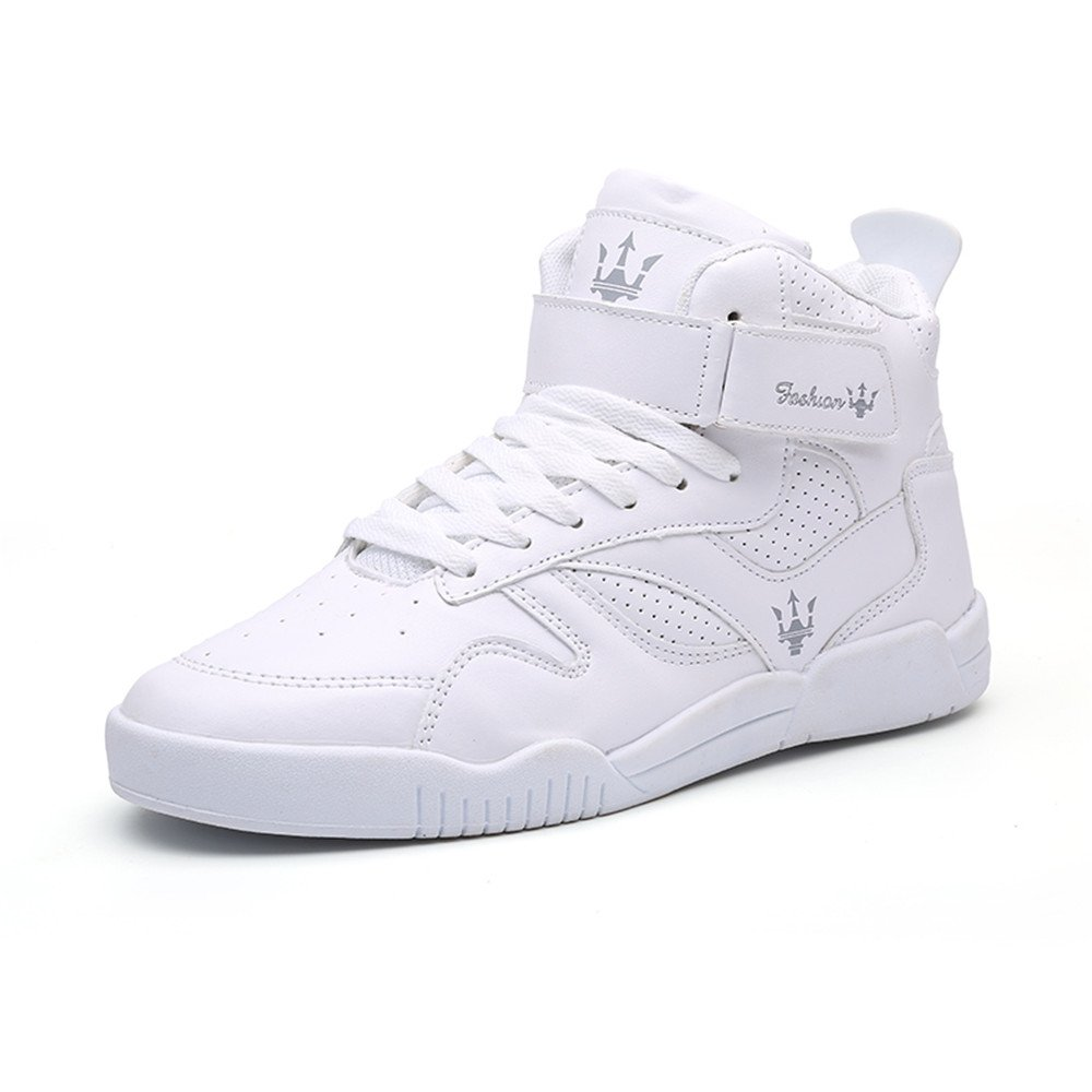 FZUU Men's Fashion High Top Leather Street Sneakers Sports Casual Shoes