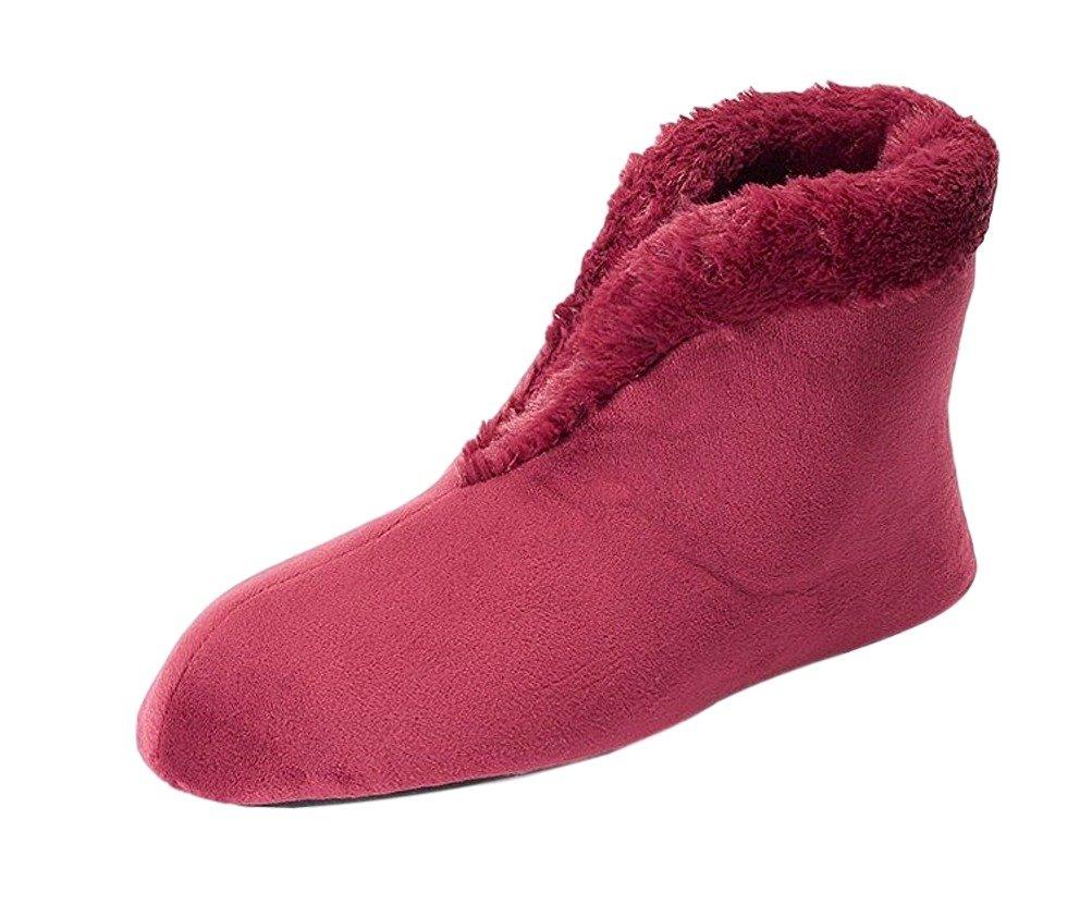 Dearfoams Women's Velour Bootie with Boa Flat B017EW45XE Large / 9-10 B(M)|Cabernet
