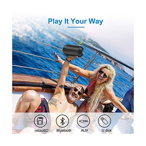 Enceinte Bluetooth Portable, 8W Enceintes Portable Haut-Parleur Bluetooth 4.2 sans Fil, avec Son 360°, Basse Améliorée, Carte TF, Mains Libres, Etanche, 12 Heures d'autonomie pour Gym/Jogging 6