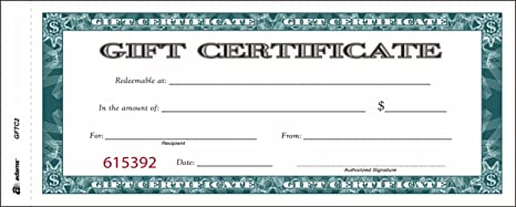 Amazoncom Adams Gift Certificate Book Carbonless Single Paper - Numbered gift certificate template