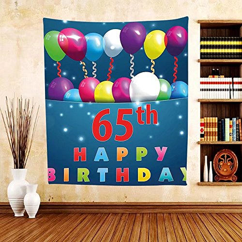 Gzhihine Custom tapestry 65th Birthday Decorations Tapestry Greeting Card Inspired Design with Decorative Font Swirls for Bedroom Living Room Dorm Pink Orange - Orange Outlets Map