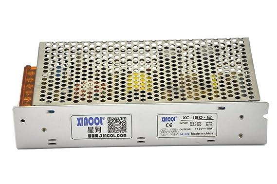 XINCOL 12V 15A 180W Transformador de Potencia, Transformador de Voltaje, Fuente de Alimentación para la Tira de LED: Amazon.es: Bricolaje y herramientas