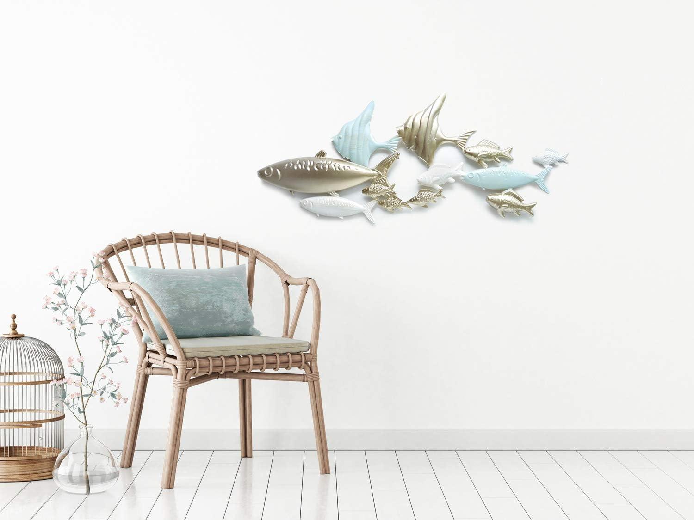 Fischschwarm aus Metall Werner Voss Wandobjekt Fische Wand-Skulptur Wandbild Gold blau 3D Wandschmuck 82 cm