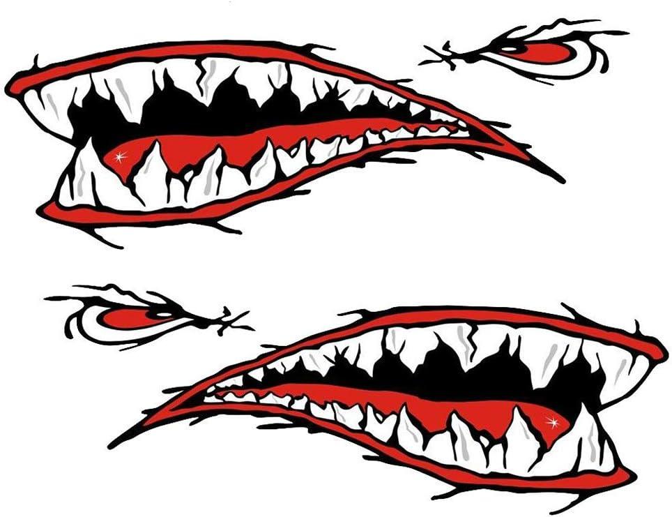 1 Par Impermeable DIY Divertido Tim/ón Kayak Barco Shark Teeth Boca Etiqueta Engomada Decorativa Etiqueta Naduew Shark Sticker