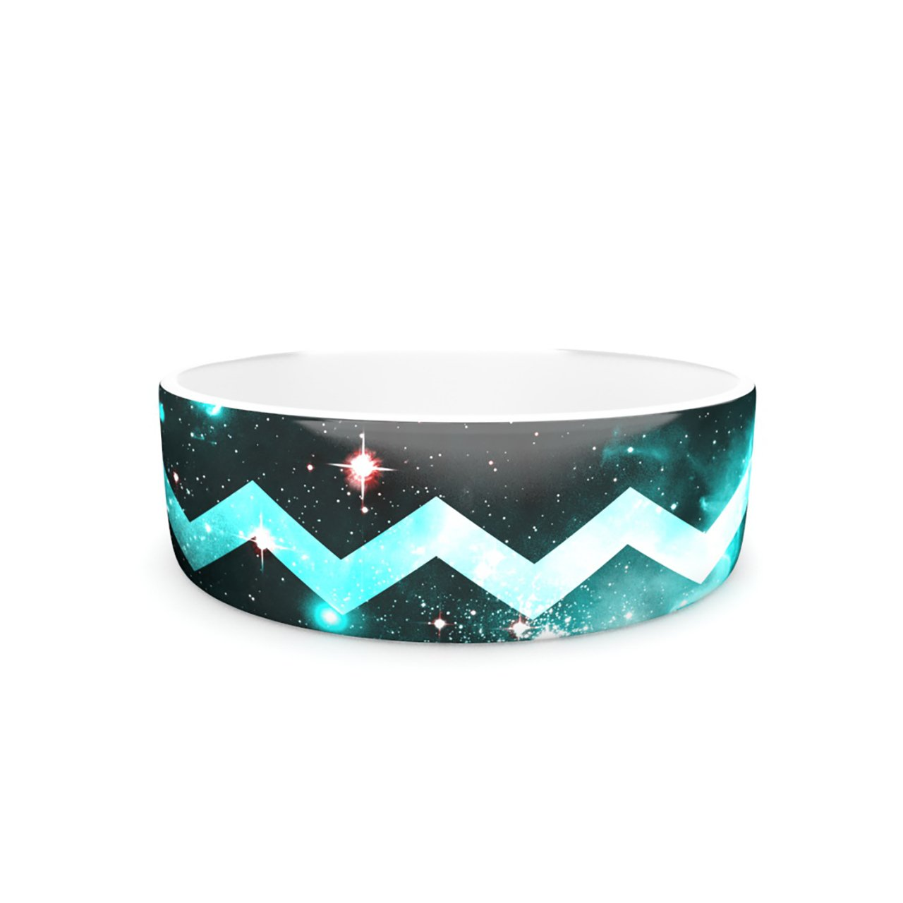 Kess InHouse Alveron Aqua Galaxy Chevron  Pet Bowl, 7-Inch