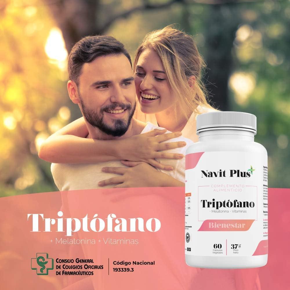 L-Triptófano de Navit Plus. Triptófano 500 mg + B6 + B3 + B2 + Melatonina |60 cápsulas vegetales | Tratamiento 2 meses | Complemento alimenticio para regular el sueño, estrés y bienestar.