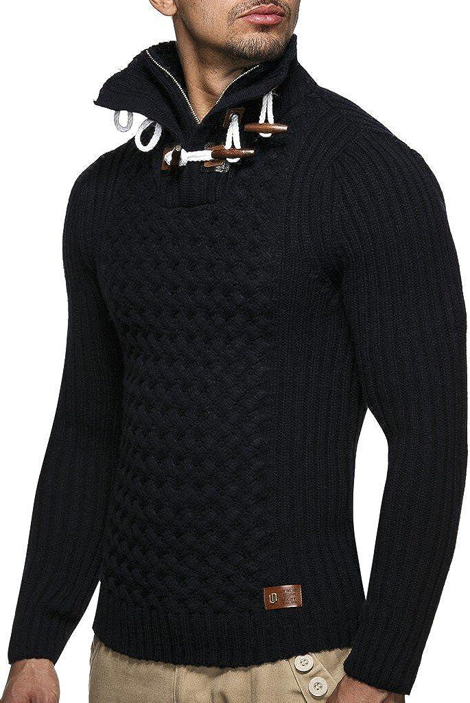 Leif Nelson Herren Strickpullover schwarzer Pullover mit Stehkragen Männer Pulli für Winter Winterpullover LN4185 Blau