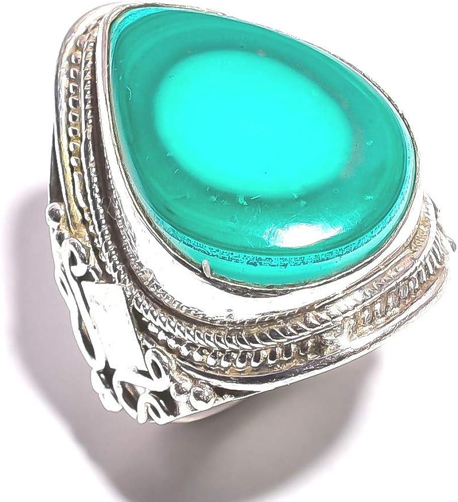 mughal gems & jewellery Anillo de Plata de Ley 925 Anillo de joyería Fina de Piedras Preciosas de malaquita Natural (Tamaño 8.25 U.S)
