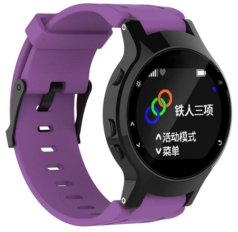 singleluci交換用for Garmin Forerunner 225 GPS Watch、シリコン腕時計バンド+バックカバー Length:15cm-21cm ブラック B071VMDYV2