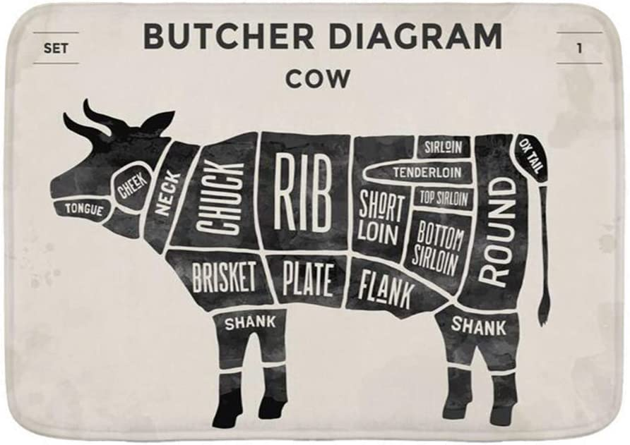 "Haveia Bathroom Rug Carpet Non Slip,Preparation Cut Flank Beef Set Eat Chuck Cook Butcher Vintage Diagram Food Scheme Retro Cow,Microfiber Modern Bath Rugs Soft Bath Mat,29.5"" X 17.5"""