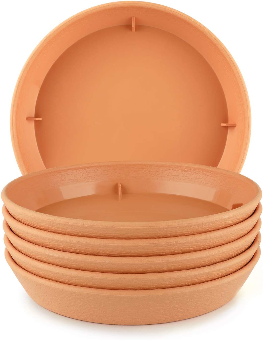 T4U Plastic Plant Pot Saucers with Faux Clay Finish 6 Inch Beige Set of 6 Round Hevay Duty Small Flowerpot Tray Resin Plant Drip Saucer Base PP Coaster Pallet for Succulent Planter Pot