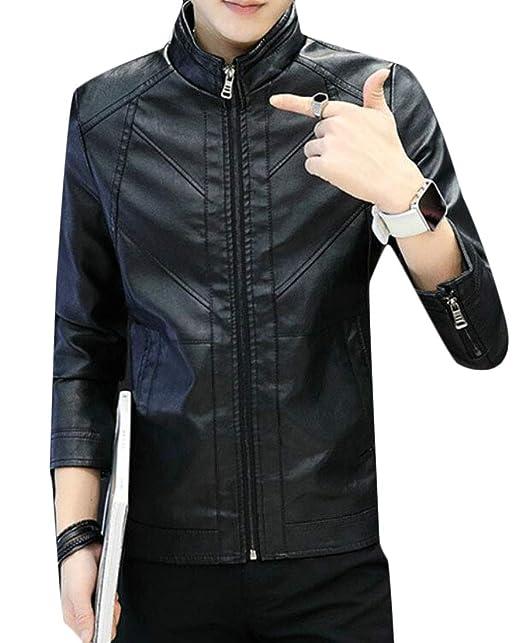 c06ad6fbf GRMO Men Zip up Trendy Warm Mandarin Collar Faux PU Leather Jacket ...