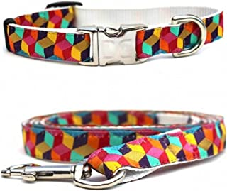 "product image for Diva-Dog 'Block Party Bright' Custom Small Dog 5/8"" Wide Dog Collar with Plain or Engraved Buckle, Matching Leash Available - Teacup, XS/S"