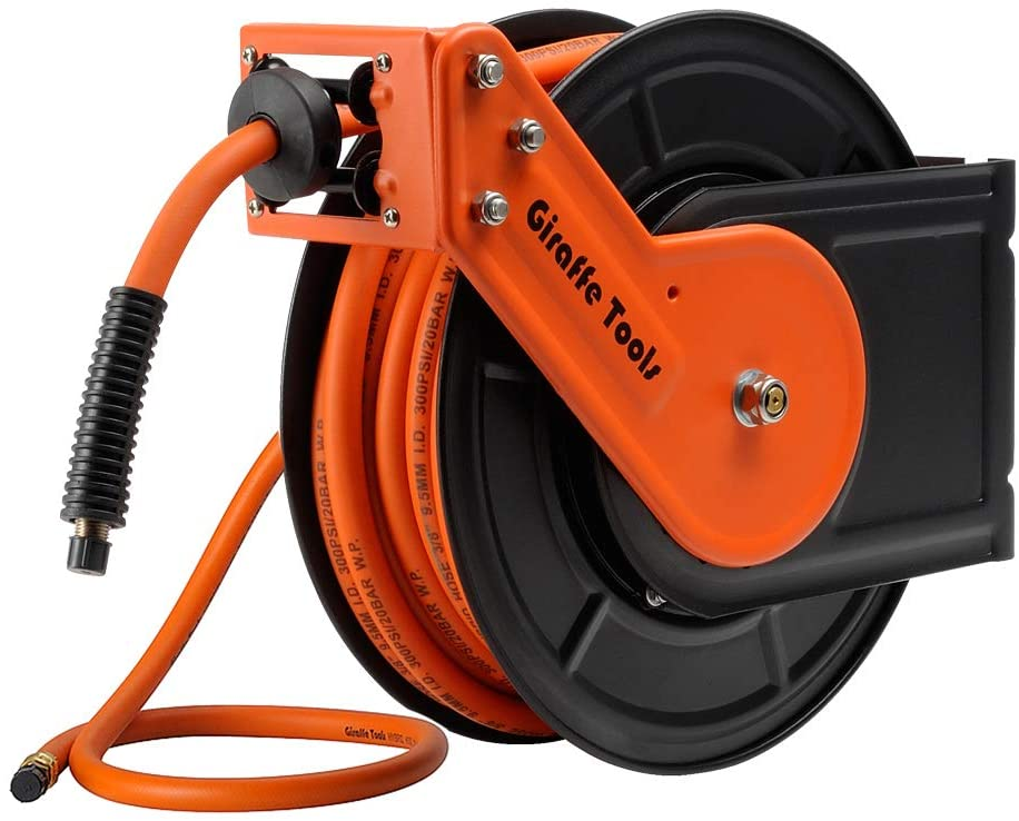 Giraffe Retractable Air-Hose-Reel with 3/8 in. x 50 Ft Hybrid Air Hose, Auto Rewind Pneumatic Hose Reel, 300PSI Heavy Duty Steel-Reel - -