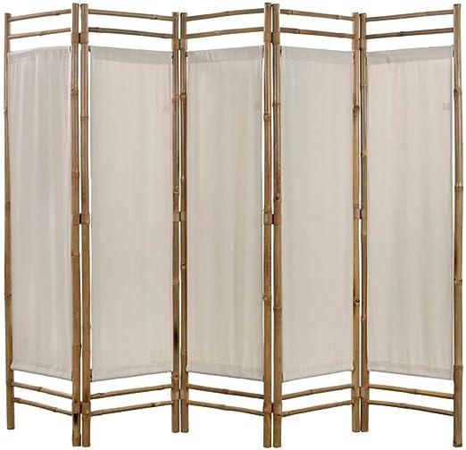 lyrlody- Separador de Ambientes Plegable, Biombo Plegable 5 Panel Divisor de Habitaciones Decoración Elegante Divide Espacio Tabique de Separación Bambú y Lona Crema, 200x160 cm: Amazon.es: Hogar