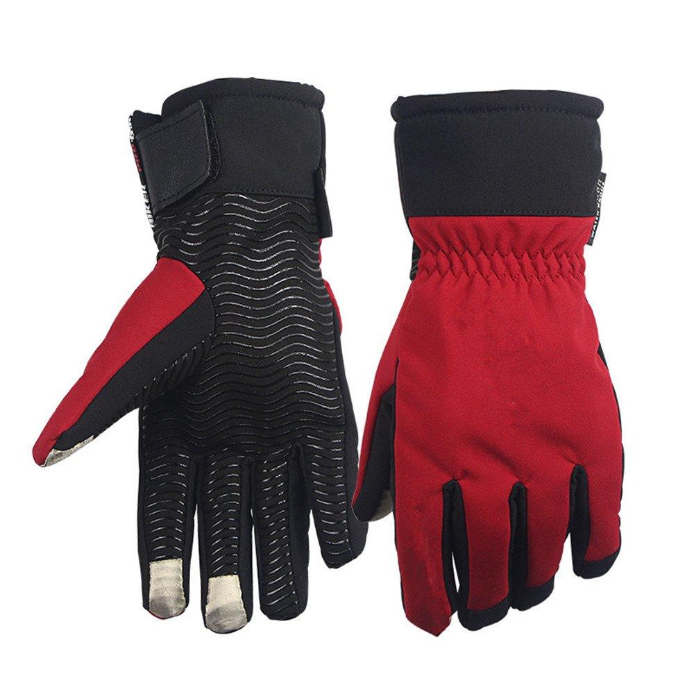 QARYYQ Winterreiten Warm Und Kalt Full Palm Silikon Rutschfeste Wasserdichte Ritter Lange Handschuhe, Eine Vielzahl Von Farben Handschuh (Farbe   ROT, größe   XL)