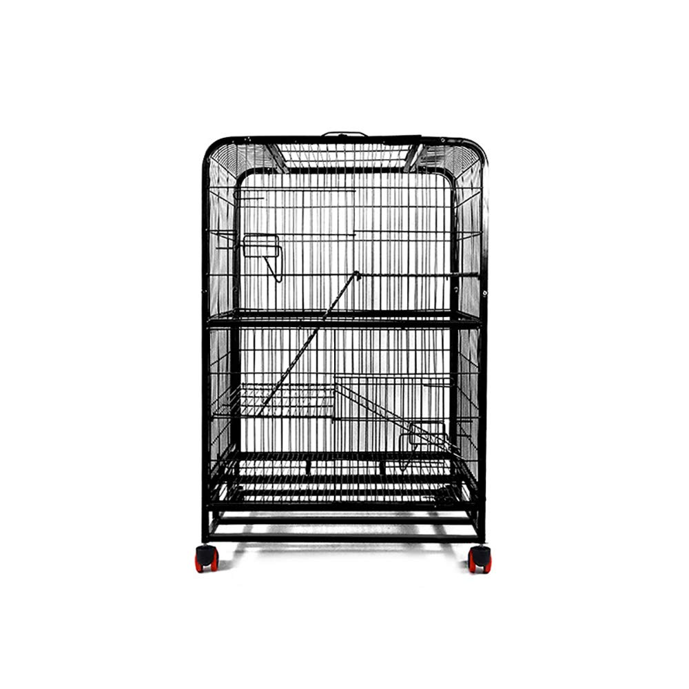 Threefloors Small Threefloors Small Folding Metal Dog Crate Heavy Duty Pet Cage Metal Wheels Exercise Playpen Suitable for Small and Medium Pets to Rest,Threefloors,S