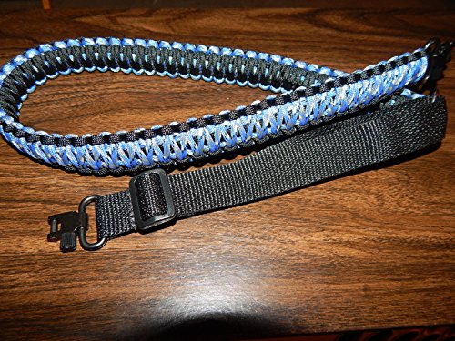 Rifle Gun Slings handmade with 550 Paracord with swivels, adjustable (Black + Blue (Handmade Camouflage)