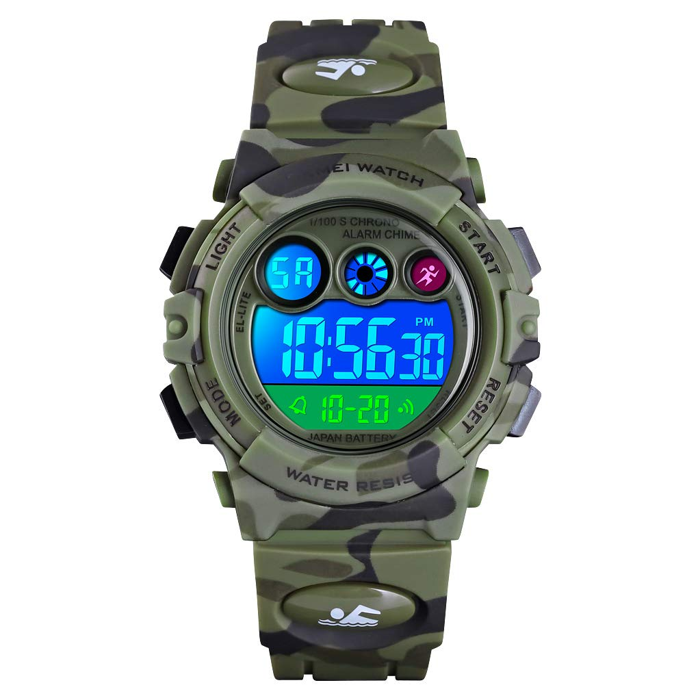 Boys Watches Camo Waterproof Sports LED Digital Watch with Alarm Day Date Gift for 6-12 Years Old greencamo by AMCAS