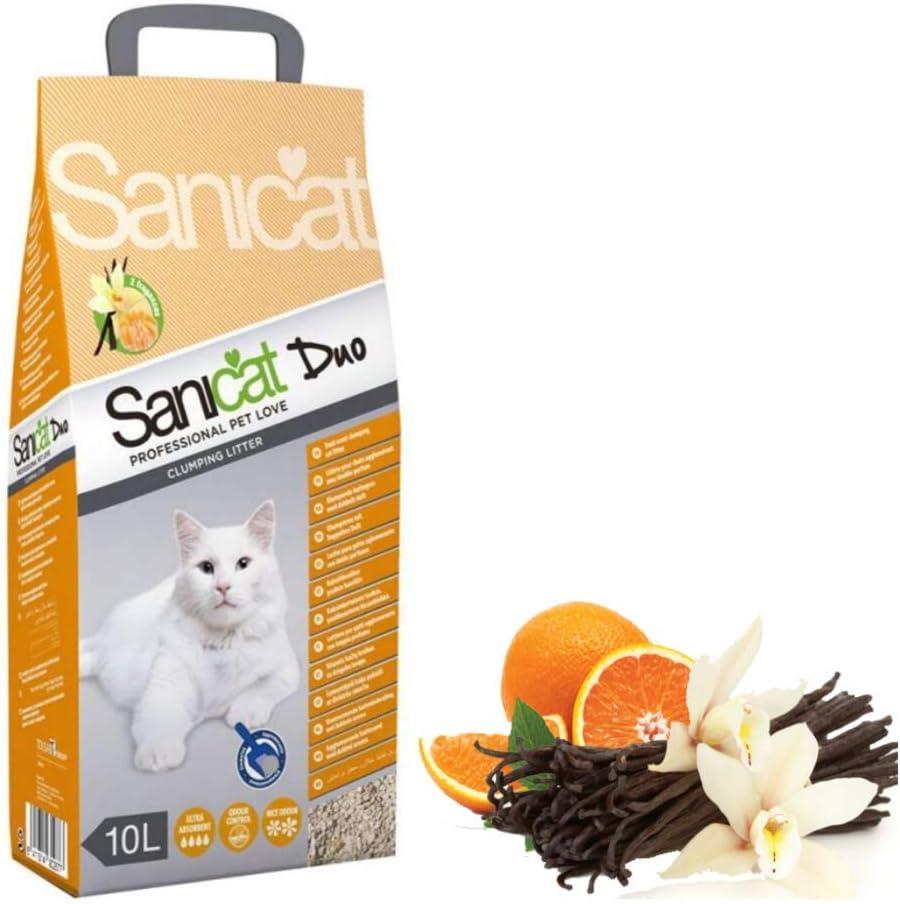Sanicat Clumping Duo Arena para gatos, aroma a vainilla y mandarina, 60 L, antibacteriana, desechable e hipoalergénica, con control de olor, fórmula desodorante combinada con bolas de juguete Trixie Nub: Amazon.es: Productos