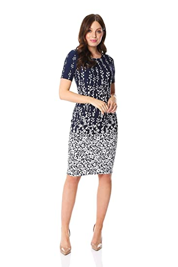 8d69d44c1a Roman Originals Women Floral Border Textured Shift Dress - Ladies Work  Smart Office Business Event Occasion Floral Print Pencil Fitted A Line  Short ...