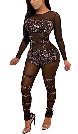 b83c64de7eb Amazon.com  LKOUS Women s Sexy Mesh See Through Long Sleeve Bodycon Pants  Rhinestone Jumpsuit Clubwear One Piece Romper  Clothing
