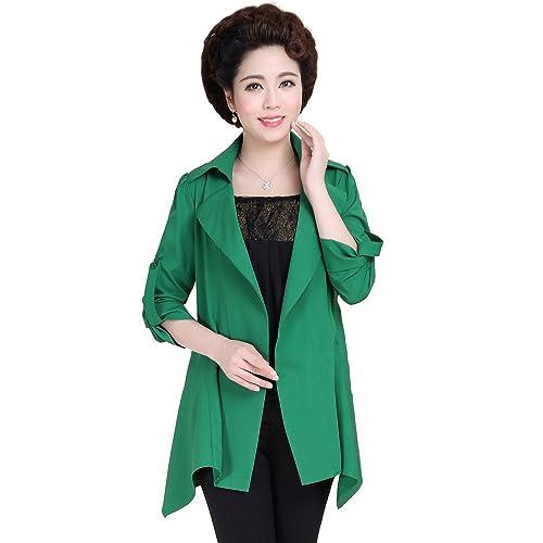 Rompevientos Otoño Las Mujeres De Gran Tamaño Ocasionales La Sra Chaqueta De Manga Larga Multicolor Multi-tamaño,Green-xxl