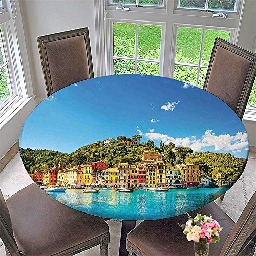 Mikihome The Round Table Cloth Village Mediterranean Town by The Sea Portofino Harbor Panorama Blue Green for Birthday Party, Graduation Party 47.5