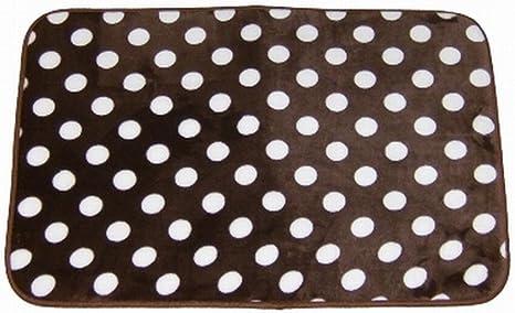 At Home Luxurious Brown Polka Dot Memory Foam Rug Bath Mat Skid Resistant 17x24 Home Kitchen