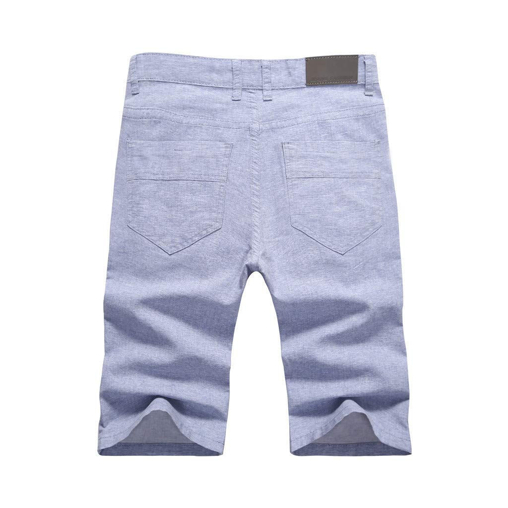 Allywit Men Summer Business Linen Pants Ice Ultra-Thin Breathable Casual Fashion Straight Pants Shorts Plus Size