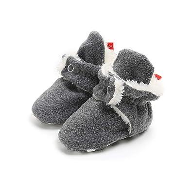 best service 8fe37 63483 AUPUMI Unisex-Baby Neugeborenes Fleece Booties Bio Baumwoll-Futter und  Rutschfeste Greifer Winterschuhe